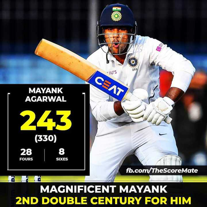 🏏मयंक का डबल धमाल⚾ - BY JU ' S CEAT MAYANK AGARWAL 243 ( 330 ) / 8 28 FOURS SIXES fb . com / TheScore Mate MAGNIFICENT MAYANK 2ND DOUBLE CENTURY FOR HIM - ShareChat