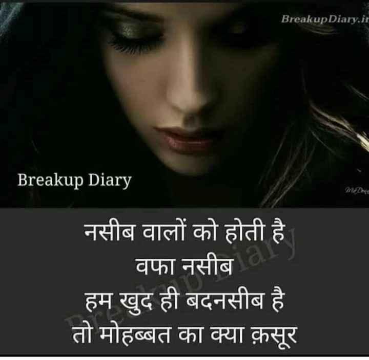 📹 महफिल ए शायरी वीडियो ✒ - Breakup Diary . ir Breakup Diary PREDheer नसीब वालों को होती है वफा नसीब हम खुद ही बदनसीब है तो मोहब्बत का क्या क़सूर - ShareChat