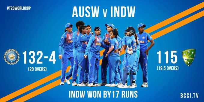 🏏महिला WC:  जीत से आग़ाज़  - # T20WORLDCUP AUSW v INDW DIA 132 - 4 115 ( 20 OVERS ) ( 19 . 5 OVERS ) INDW WON BY 17 RUNS BCCI . TV - ShareChat