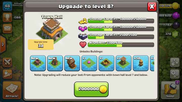 😎माझं टॅलेंट - Aditya S Upgrade to level 8 ? 170 324 388 620 1388 TOWN Hall Storage Capacity : 500000 250000 1783 Storage Capacity : 500000 250000 Storage Capacity : 2500 - 2500 370 Upgrade time Hit points : 3300 + 600 3d Unlocks Buildings : New New New x1 X1 x 50 Note : Upgrading will reduce your loot from opponents with town hall level 7 and below . 2000000 Attack ! SHOP - ShareChat