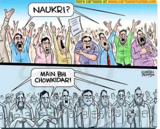 👮🏻मी पण चौकीदार - more cartoons at www . cartoonistsatish . com NAUKRI ? MAIN BHI CHOWKIDAR ! - ShareChat
