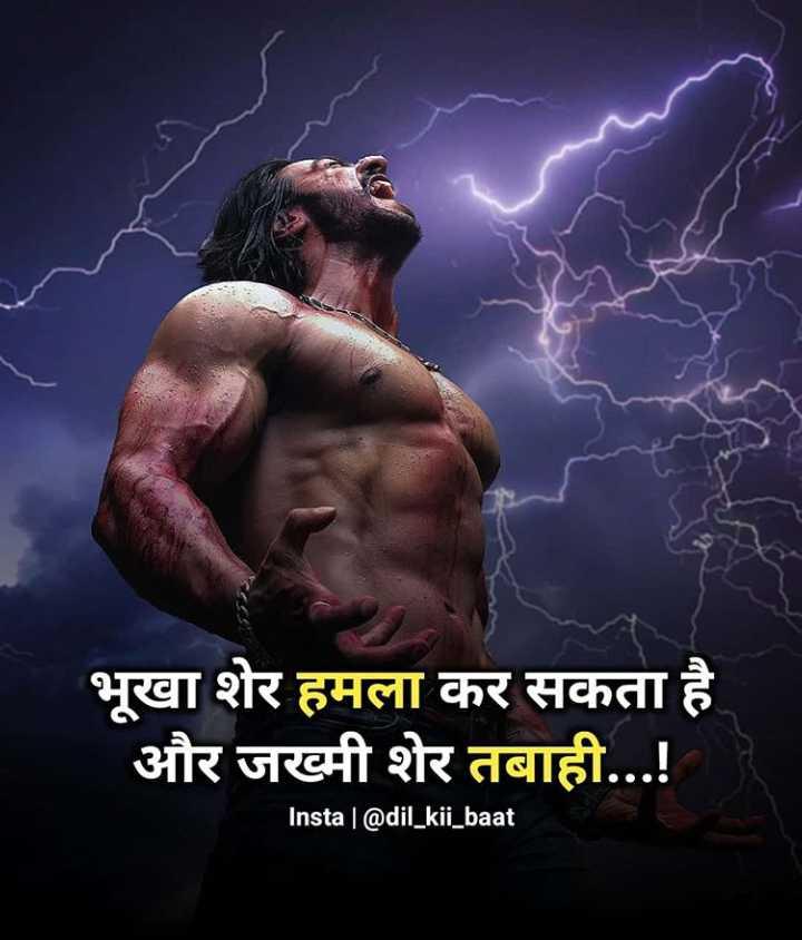 🤘🏻मेरा स्टाइल स्टेटमेंट - भूखा शेर हमला कर सकता है और जख्मी शेर तबाही . . . ! Insta @ dil _ kii _ baat - ShareChat