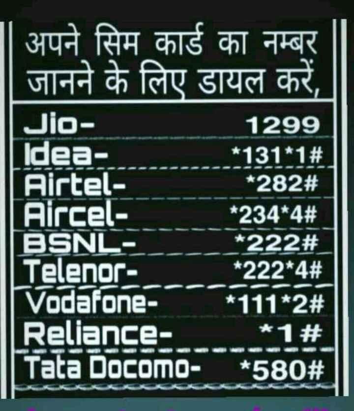 📱 मेरा स्मार्टफोन - Jio अपने सिम कार्ड का नम्बर जानने के लिए डायल करें , 1299 Idea * 131 * 1 # Airtel * 282 # Aircel - * 234 * 4 # BSNL * 222 # Telenor - * 222 * 4 # Vodafone - * 111 * 2 # Reliance * 1 % 2 | | Tata Docomo - * 580 # | - ShareChat