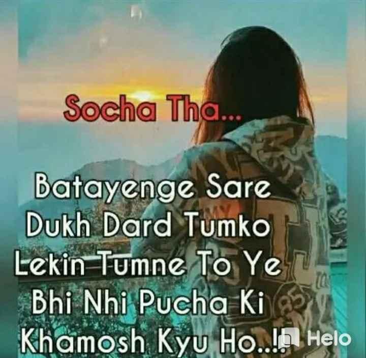 📒 मेरी डायरी - Socha Tha . . . Batayenge Sare Dukh Dard Tumko Lekin Tumne To Ye Bhi Nhi Pucha Ki Khamosh Kyu Ho . . . - ShareChat