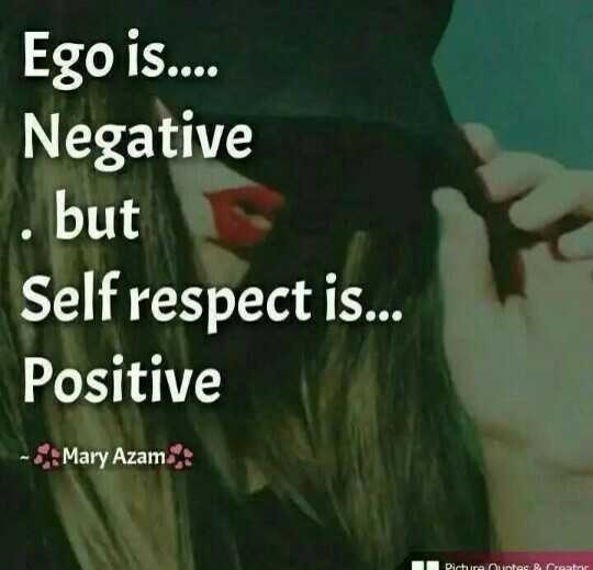 📒 मेरी डायरी - Ego is . . . . Negative . but Self respect is . . . Positive - Mary Azam Picture Ortes router - ShareChat
