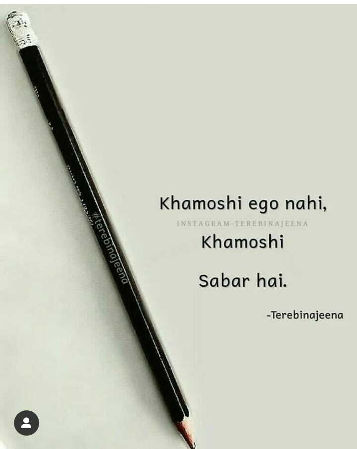 📒 मेरी डायरी - Khamoshi ego nahi , INSTAGRAM - TEREBINAJEENA Khamoshi # terebinajeenä Sabar hai . - Terebinajeena - ShareChat