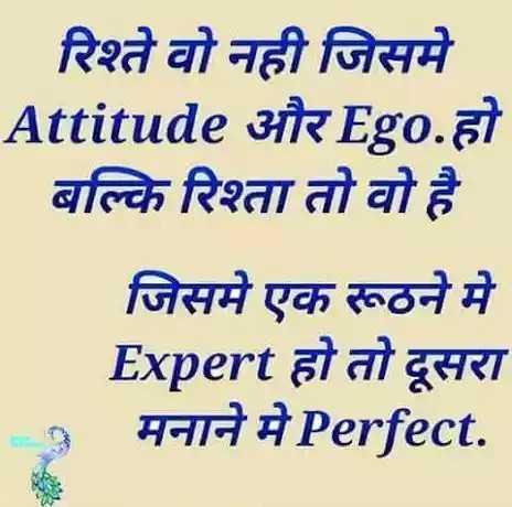 ☝ मेरे विचार - रिश्ते वो नही जिसमे Attitude और Ego . हो बल्कि रिश्ता तो वो है जिसमे एक रूठने में Expert हो तो दूसरा मनाने मे Perfect . - ShareChat