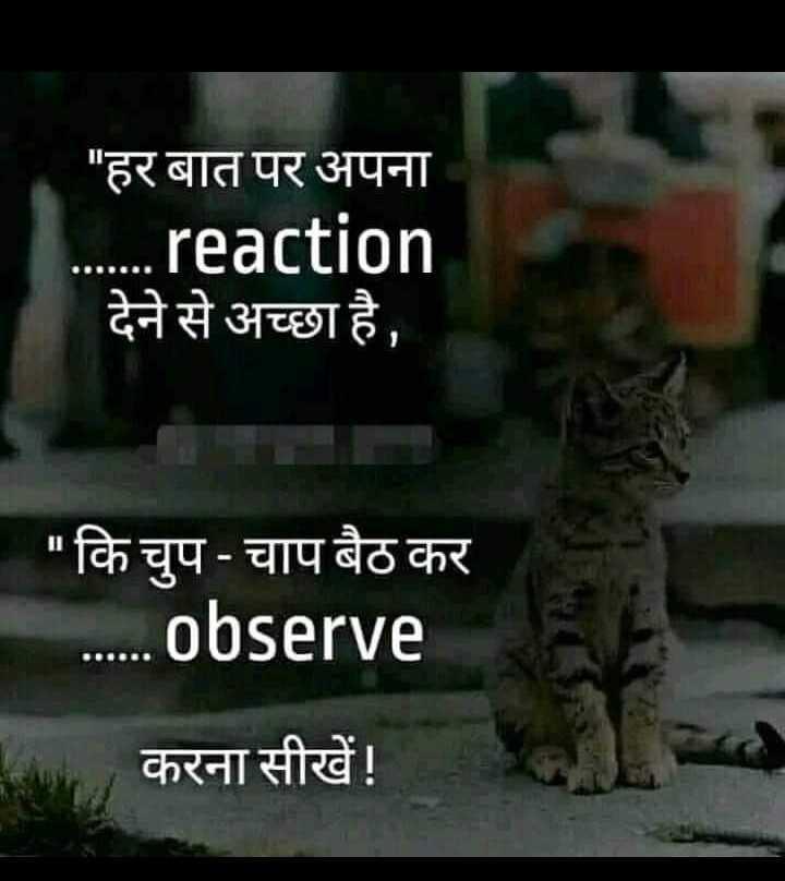 ☝ मेरे विचार - हर बात पर अपना . . . reaction देने से अच्छा है , कि चुप - चाप बैठ कर . . . . . . Observe करना सीखें ! - ShareChat