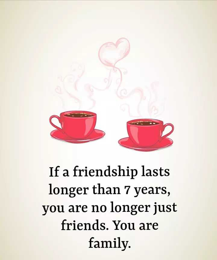🤘मैत्री स्टेट्स - If a friendship lasts longer than 7 years , you are no longer just friends . You are family . - ShareChat