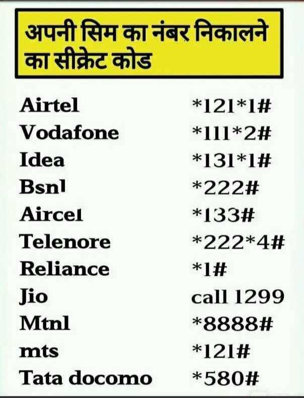 📱 मोबाइल/कंप्यूटर ट्रिक्स - अपनी सिम का नंबर निकालने का सीक्रेट कोड Airtel Vodafone Idea Bsnl Aircel Telenore Reliance Jio Mtnl mts Tata docomo * 121 * 1 # * 111 * 2 # * 131 * 1 # * 22223 * 133 # * 222 * 42 * 1 # call 1299 * 8888 # * 12123 * 580 # - ShareChat