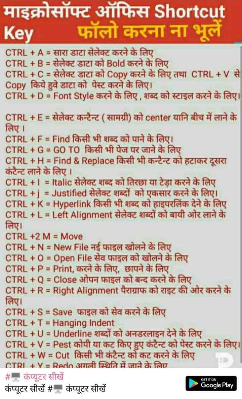 📱 मोबाइल/कंप्यूटर ट्रिक्स - माइक्रोसॉफ्ट ऑफिस Shortcut Key फॉलो करना ना भूले CTRL + A = सारा डाटा सेलेक्ट करने के लिए CTRL + B = सेलेक्ट डाटा को Bold करने के लिए CTRL + C = सेलेक्ट डाटा को Copy करने के लिए तथा CTRL + V से Copy किये हुवे डाटा को पेस्ट करने के लिए । CTRL + D = Font Style करने के लिए , शब्द को स्टाइल करने के लिए । M CTRL + E = सेलेक्ट कन्टैन्ट ( सामग्री ) को center यानि बीच में लाने के लिए । CTRL + F = Find किसी भी शब्द को पाने के लिए । CTRL + G = GO TO किसी भी पेज पर जाने के लिए CTRL + H = Find & Replace किसी भी कन्टेन्ट को हटाकर दूसरा कंटैन्ट लाने के लिए । CTRL + I = Italic सेलेक्ट शब्द को तिरछा या टेड़ा करने के लिए CTRL + j = Justified सेलेक्ट शब्दों को एकसार करने के लिए । CTRL + K = Hyperlink किसी भी शब्द को हाइपरलिंक देने के लिए CTRL + L = Left Alignment सेलेक्ट शब्दों को बायी ओर लाने के लिए । CTRL + 2 M = Move CTRL + N = New File नई फाइल खोलने के लिए CTRL + 0 % 3D Open File सेव फाइल को खोलने के लिए CTRL + P = Print , करने के लिए , छापने के लिए CTRL + Q % D Close ओपन फाइल को बन्द करने के लिए CTRL + R = Right Alignment पैराग्राफ को राइट की ओर करने के लिए । CTRL + S = Save फाइल को सेव करने के लिए CTRL + T = Hanging Indent CTRL + U = Underline शब्दों को अनडरलाइन देने के लिए CTRL + V = Pest कोपी या कट किए हुए कंटैन्ट को पेस्ट करने के लिए । CTRL + W = Cut किसी भी कंटैन्ट को कट करने के लिए CTRI + Y = Rede अगली स्थिति में जाने के लिए # - कंप्यूटर सीखें Google Play कंप्यूटर सीखें # - कंप्यूटर सीखें p GET IT ON - ShareChat