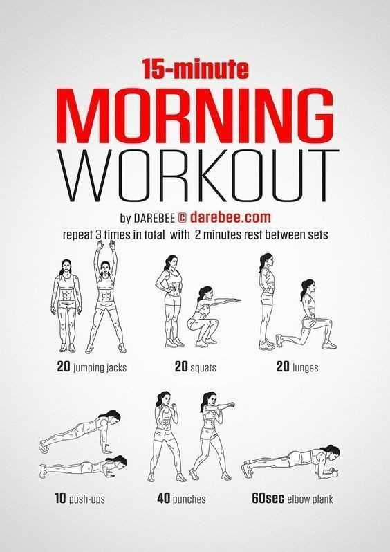 🧘योग आसन वीडियो - 15 - minute MORNING WORKOUT by DAREBEE darebee . com repeat 3 times in total with 2 minutes rest between sets 20 jumping jacks 20 squats 20 lunges 10 push - ups 40 punches 60sec elbow plank - ShareChat