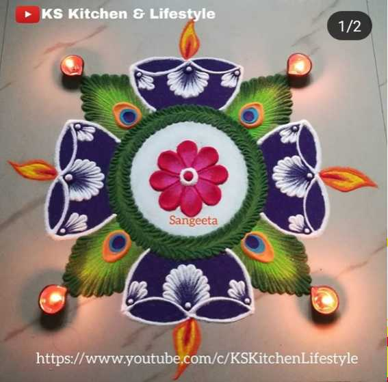 🌀रंगोली डिजाइन - KS Kitchen & Lifestyle 1 / 2 Sangeeta https : / / www . youtube . com / c / KSKitchen Lifestyle - ShareChat