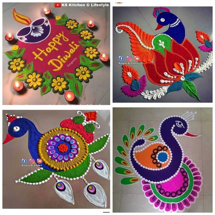 🌀रंगोली डिजाइन - KS Kitchen & Lifestyle Happy Diwali Rangoli By Sneha Sangeeta 5 O O O Rangoli By Sneha ) - ShareChat