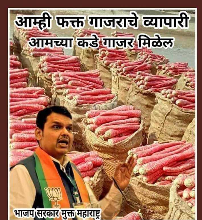 🤪राजकीय टोलेबाजी - | आम्ही फक्त गाजराचे व्यापारी आमच्या कडे गाजर मिळेल ९ भाजप सरकार मुक्त महाराष्ट्र - ShareChat