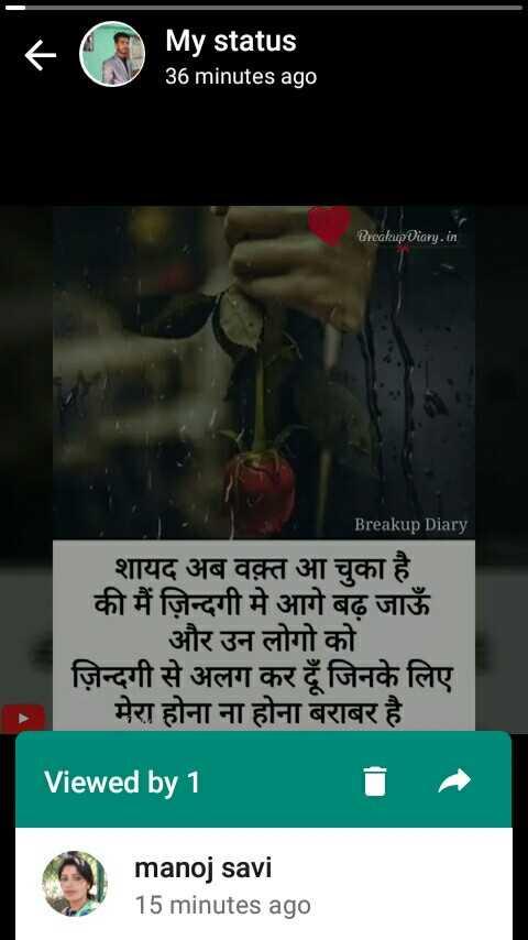 🌺 🙏 रानी दुर्गावती पुण्यतिथि - My status 36 minutes ago Breakup Diary . in Breakup Diary शायद अब वक़्त आ चुका है । की मैं ज़िन्दगी में आगे बढ़ जाऊँ और उन लोगो को ज़िन्दगी से अलग कर दें जिनके लिए मेरा होना ना होना बराबर है । Viewed by 1 manoj savi 15 minutes ago - ShareChat