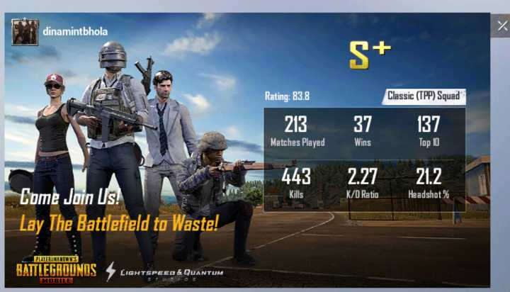 राशिफल - dinamintbhola S + Rating : 83 . 8 Classic ( TPP ) Squad 213 37 137 Matches Played Top 10 443 2 . 27 21 . 2 Kills K / D Ratio Headshot % Come Join Us ! Lay The Battlefield to Waste ! PLAYERUNKNOWN ' S BATTLEGROUNDS TSPEED & QUANTUM MUHLE - ShareChat