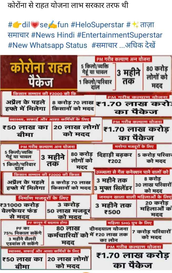 🌐 राष्ट्रीय-अंतराष्ट्रीय खबरें - कोरोंना से राहत योजना लाभ सरकार तरफ थी # 7 dil se fun # HeloSuperstar # diy समाचार # News Hindi # EntertainmentSuperstar # New Whatsapp Status # समाचार . . . अधिक देखें काराना राहत पैकेज | PM गरीब कल्याण अन्न योजना 5 किलो / व्यक्ति गेहूं या चावल 3 महीने 80 - लोगों को 1किलो / परिवार दाल मदद किसान सम्मान की ₹2000 की कि PM गरीब कल्याण योजना अप्रैल के पहले 18 करोड़ 70 लाख 1 . 70 लाख करा : हफ्ते में मिलेगा किसानों को मदद का पैकेज स्वास्थ्य , सफाई और आशा कर्मियों के लिए PM गरीब कल्याण योजना ₹50 लाख का | 20 लाख लोगों ₹1 . 70 लाख करोड़ बीमा को मदद का पैकेज | PM गरीब कल्याण अन्न योजना मनरेगा मजदूरों के लिए 5 किलो / व्यक्ति 80 करोड़ दिहाडी बढकर 15 करोड़ परिवार गेहूं या चावल लोगों को ₹202 _ _ को मदद 1 किलो / परिवार | तक । दाल मदद उज्ज्वला से गैस कनेक्शन पाने वालों को किसान सम्मान की ₹2000 की किस्त 8 करोड़ अप्रैल के पहले 8 करोड़ 70 लाल 3 महीने तक हफ्त म मिलेगा । किसानों को मदद मानलेकर 30 लाख पारवारों को मदद 3 मफ्त सिलडर को मदद निर्माण मजदूरों के लिए जनधन खाता वाली महिलाओं के लिए ₹31000 करोड़ - 3 करोड़ 3 महीने तक 20 करोड़ वेलफेयर फंड 50 लाख मजदूर महिलाओं के ₹500 से मदद मदद को मदद PF कानून में बदलाव होगा महिला SHG ग्रुप के लिए PF का 80 लाख दीनदयाल योजना 7 करोड परिवारों 75 % निकाल सकेंगे कर्मचारियों को में ₹20 लाख तक 3 महीने सैलरी का लोन को मदद एडवांस ले सकेंगे मदद PM गरीब कल्याण योजना स्वास्थ्य , सफाई और आशा कर्मियों के लिए ₹1 . 70 लाख करोड़ ₹50 लाख का 20 लाख लोगों । बीमा को मदद का पैकेज - ShareChat