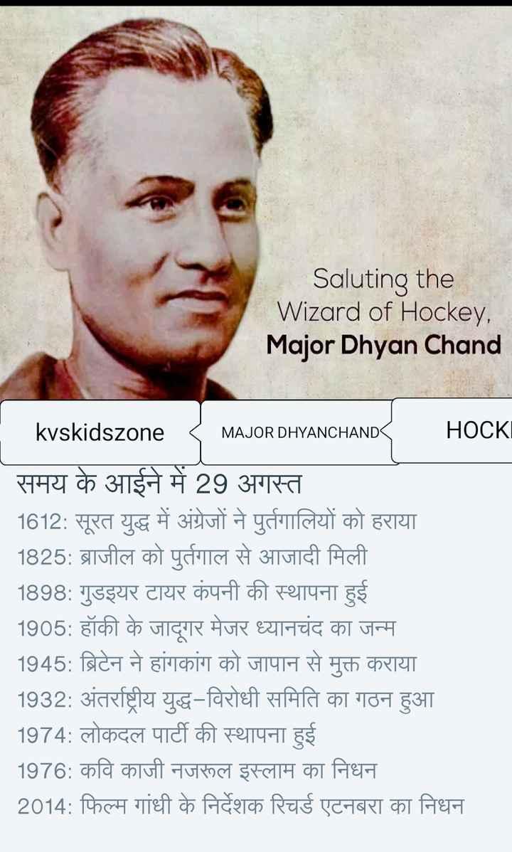 🎯 राष्ट्रीय खेल दिवस - Saluting the Wizard of Hockey , Major Dhyan Chand MAJOR DHYANCHAND kvskidszone < MAJOR DHYANCHAND HOCKI समय के आईने में 29 अगस्त 1612 : सूरत युद्ध में अंग्रेजों ने पुर्तगालियों को हराया 1825 : ब्राजील को पुर्तगाल से आजादी मिली 1898 : गुडइयर टायर कंपनी की स्थापना हुई 1905 : हॉकी के जादूगर मेजर ध्यानचंद का जन्म _ _ _ 1945 : ब्रिटेन ने हांगकांग को जापान से मुक्त कराया _ _ _ 1932 : अंतर्राष्ट्रीय युद्ध - विरोधी समिति का गठन हुआ _ _ _ 1974 : लोकदल पार्टी की स्थापना हुई 1976 : कवि काजी नजरूल इस्लाम का निधन 2014 : फिल्म गांधी के निर्देशक रिचर्ड एटनबरा का निधन - ShareChat
