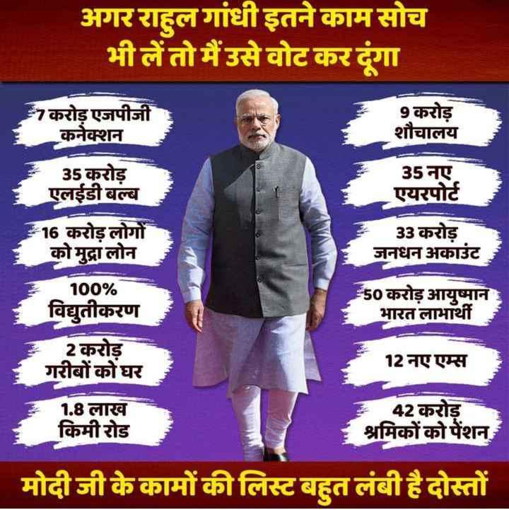 📢 राहुल गाँधी का अमेठी में नामांकन - अगर राहुल गांधी इतने काम सोच भी लें तो मैं उसे वोट कर दंगा करोड़ एजपीजी कनेक्शन 9 करोड़ शौचालय 35 नए एयरपोर्ट 35 करोड़ एलईडी बल्ब 16 करोड़ लोगों को मुद्रा लोन 33 करोड़ जनधन अकाउंट 100 % विद्युतीकरण 50 करोड़ आयुष्मान भारत लाभार्थी 2 करोड़ । गरीबों को घर 12 नए एम्स | ॐ 42 करोड़ 1 . 8 लाख किमी रोड श्रमिकों को पेंशन मोदी जी के कामों की लिस्ट बहुत लंबी है दोस्तों - ShareChat