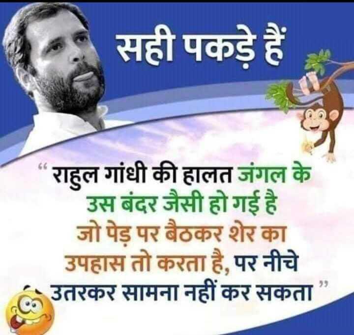 राहुल गांधी - सही पकड़े हैं । राहुल गांधी की हालत जंगल के उस बंदर जैसी हो गई है । जो पेड़ पर बैठकर शेर का उपहास तो करता है , पर नीचे उतरकर सामना नहीं कर सकता - ShareChat