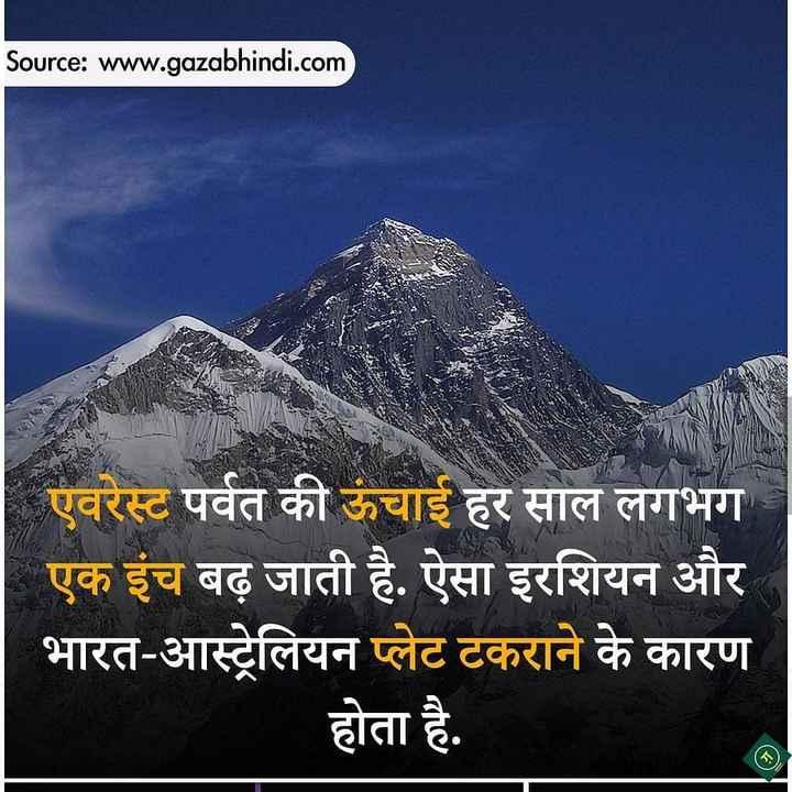 😏 रोचक तथ्य - Source : www . gazabhindi . com एवरेस्ट पर्वत की ऊंचाई हर साल लगभग एक इंच बढ़ जाती है . ऐसा इरशियन और भारत - आस्ट्रेलियन प्लेट टकराने के कारण होता है . - ShareChat