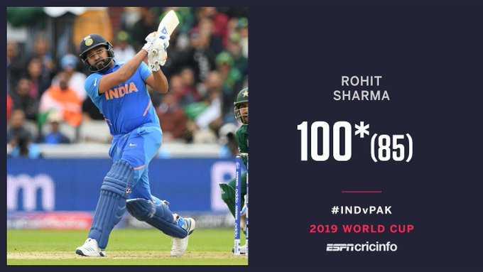 🏏 रोहित शर्मा 💯 - ROHIT SHARMA INDIA 100 * 85 ) # INDPAK 2019 WORLD CUP Esrncricinfo - ShareChat