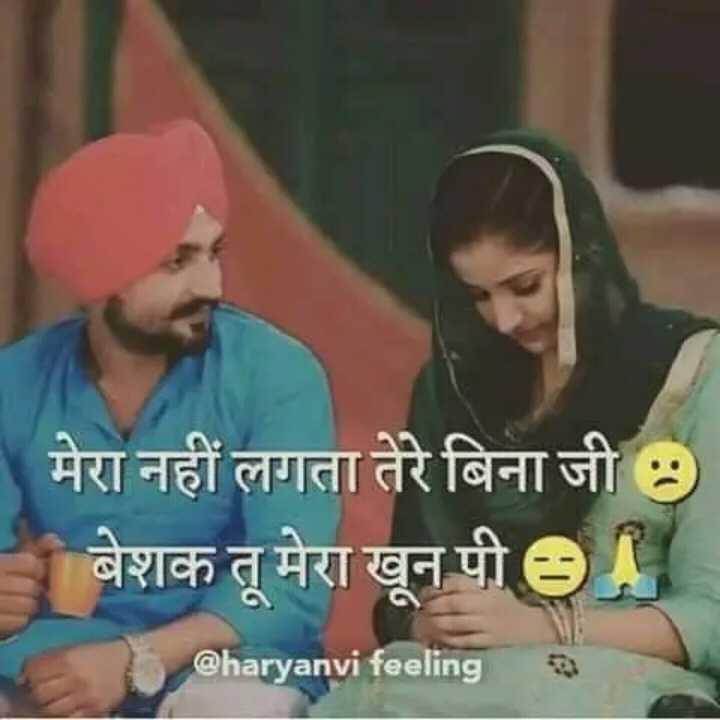 💖लव स्टेटस 💞 - मेरा नहीं लगता तेरे बिना जी बेशक तू मेरा खून पी ey @ haryanvi feeling - ShareChat