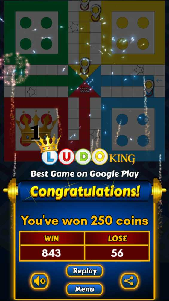 लूडो विथ फ्रेंड्स - CODOKING Best Game on Google Play Congratulations ! You ' ve won 250 coins WIN LOSE 843 56 Replay Menu - ShareChat