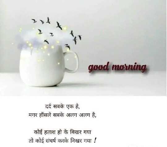 👉लोगों के लिए सीख👈 - good morning दर्द सबके एक है , मगर हौंसले सबके अलग अलग है , कोई हताश हो के बिखर गया तो कोई संघर्ष करके निखर गया ! - ShareChat