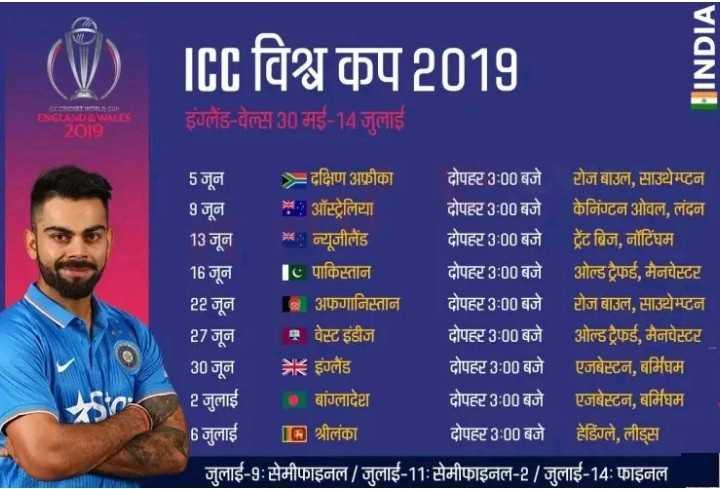 🗓 वर्ल्ड कप शेड्यूल - | ( V ) IEE विश्व कप 2019 HINDIA हंसलैंड - बेस 30 मई - 14 जुलाई 13 जून 5 जून = दक्षिण अफ्रीका दोपहर 3 : 00 बजे टोज बाउल , साउथेम्टन 9 जून २ . ऑस्ट्रेलिया दोपहर 3 : 00 बजे केनिंग्टन ओवल , लंदन * न्यूजीलैंड दोपहर 3 : 00 बजे ट्रेंट ब्रिज , नॉटिंघम 16 जून 10 पाकिस्तान दोपहर 3 : 00 बजे ओल्ड ट्रैफई , मैनचेस्टर 22 जून अफगानिस्तान दोपहर 3 : 00 बजे टोज बाउल , साउथेम्प्टन 27 जून में वेस्ट इंडीज दोपहर 3 : 00 बजे ओल्ड ट्रैफई , मैनचेस्टर 30 जून = इंग्लैंड दोपहर 3 : 00 बजे एजबेस्टन , बर्मिघम 2 जुलाई के बांग्लादेश दोपहर 3 : 00 बजे एजबेस्टन , बर्मिघम 6 जुलाई [ [ A ] श्रीलंका दोपहर 3 : 00 बजे हेडिंग्ले , लीड्स जुलाई - 9 : सेमीफाइनल / जुलाई - 11 : सेमीफाइनल - 2 / जुलाई - 14 : फाइनल - ShareChat