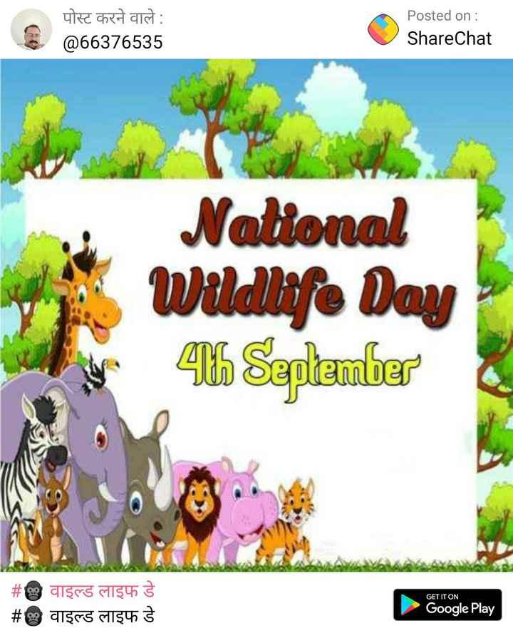 🦍 वाइल्ड लाइफ डे - पोस्ट करने वाले : @ 66376535 Posted on : ShareChat National Wildlife Day 4 September GET IT ON # e discs algus # discs 134 Google Play - ShareChat