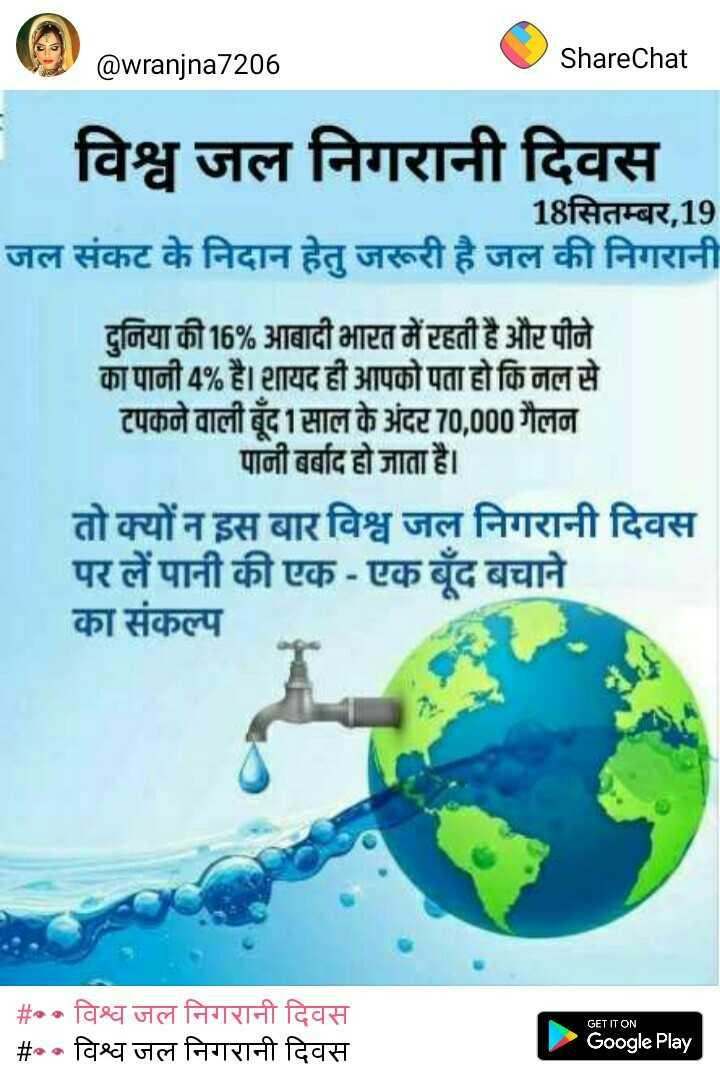 👀 विश्व जल निगरानी दिवस - @ wranjna7206 ShareChat - विश्व जल निगरानी दिवस 18सितम्बर , 19 जल संकट के निदान हेतु जरूरी है जल की निगरानी दुनिया की 16 % आबादी भारत में रहती है और पीने का पानी 4 % है । शायद ही आपको पता हो कि नल से टपकने वाली बूंद 1 साल के अंदर 70 , 000 गैलन पानी बर्बाद हो जाता है । तो क्यों न इस बार विश्व जल निगरानी दिवस पर लें पानी की एक - एक बूंद बचाने का संकल्प GET IT ON # विश्व जल निगरानी दिवस # • विश्व जल निगरानी दिवस Google Play - ShareChat