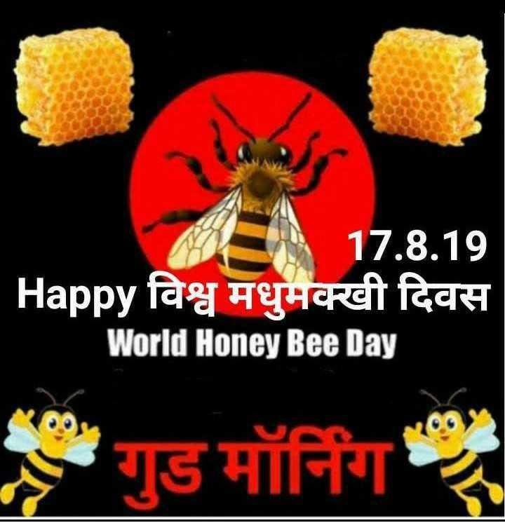 🐝 विश्व मधुमक्खी दिवस - MER 17 . 8 . 19 Happy विश्व मधुमक्खी दिवस World Honey Bee Day गुड मॉर्निंग - ShareChat