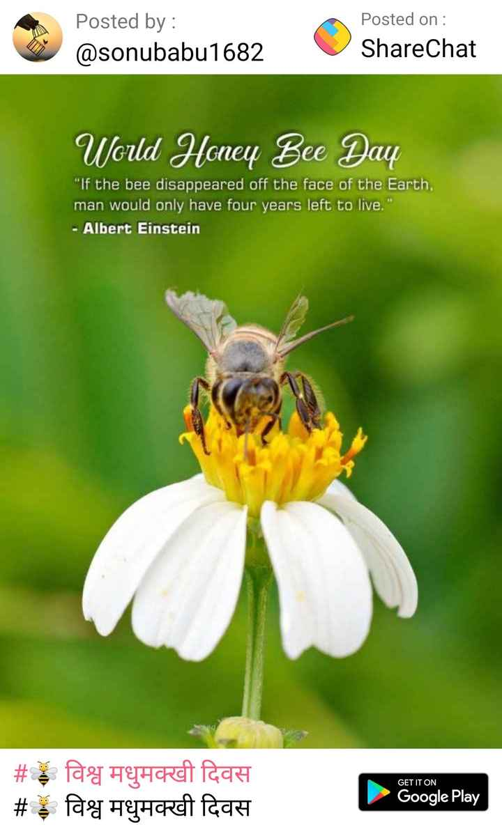 🐝 विश्व मधुमक्खी दिवस - Posted by : @ sonubabu1682 Posted on : ShareChat World Honey Bee Day Wild Henry Baca If the bee disappeared off the face of the Earth man would only have four years left to live . - Albert Einstein GET IT ON # विश्व मधुमक्खी दिवस # $ fag Hyurat laat Google Play - ShareChat