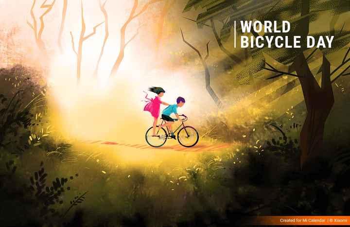 🚲विश्व साइकिल दिवस - WORLD BICYCLE DAY ESS Created for Mi Calendar | © Xiaomi - ShareChat