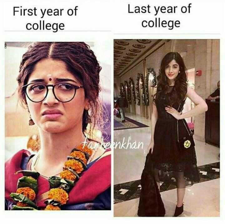 😛 व्यंग्य 😛 - First year of college Last year of college heenkhan - ShareChat