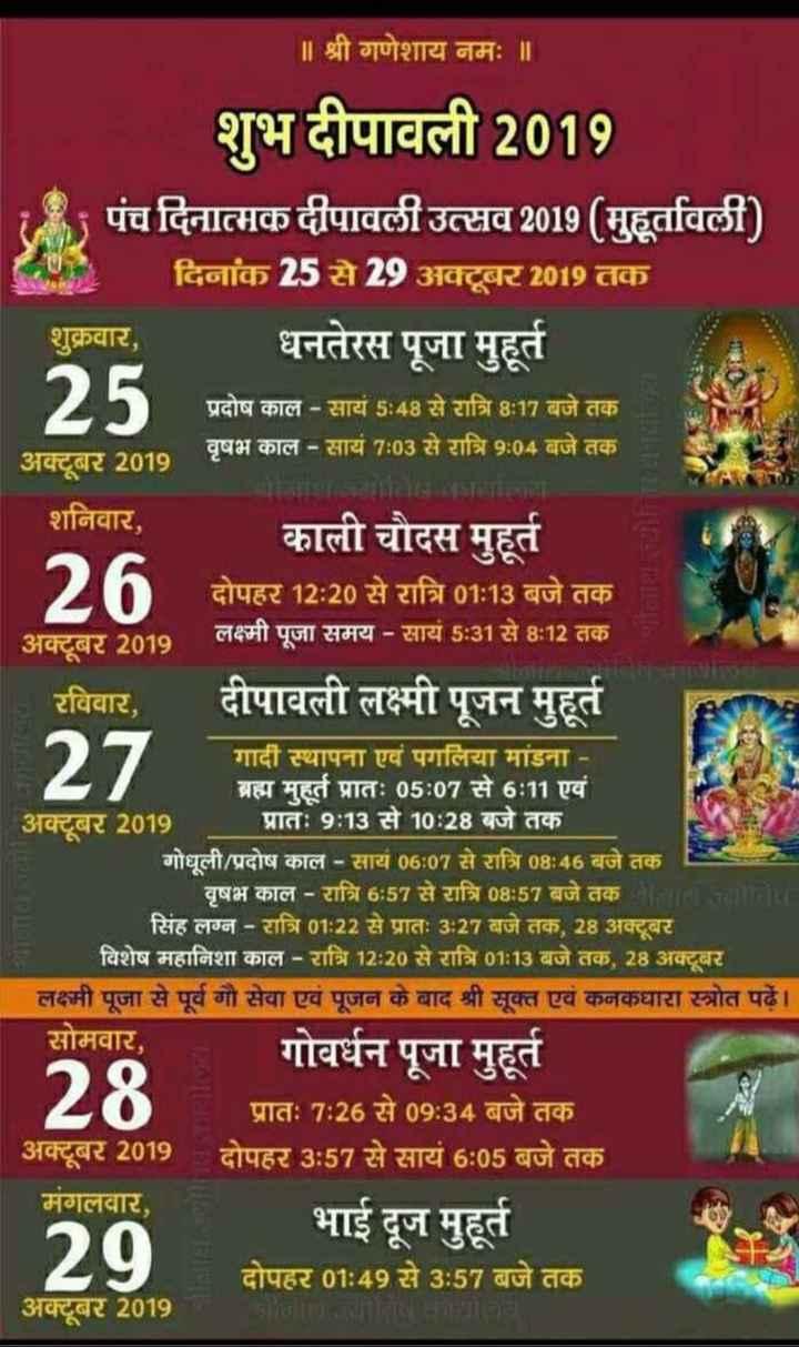 शुभ दिपावली - ॥ श्री गणेशाय नमः ॥ शुभ दीपावली 2019 पंच दिनात्मक दीपावली उत्सव 2019 ( मुहूर्तावली ) दिनांक 25 से 29 अक्टूबर 2019 तक शुक्रवार , धनतेरस पूजा मुहूर्त प्रदोष काल - सायं 5 : 48 से रात्रि 8 : 17 बजे तक वृषभ काल - साय 7 : 03 से रात्रि 9 : 04 बजे तक अक्टूबर 2019 शनिवार , _ _ काली चौदस मुहूर्त 2 h दोपहर 12 : 20 से रात्रि 01 : 13 बजे तक 1 अक्टूबर 2019 लक्ष्मी पूजा समय - सायं 5 : 31 से 8 : 12 तक रविवार , दीपावली लक्ष्मी पूजन मुहूर्त 127 गादी स्थापना एवं पगलिया मांडना - ' ब्रह्म मुहते प्रातः 05 : 07 से 6 : 11 एवं अक्टबर 2019 प्रातः 9 : 13 से 10 : 28 बजे तक गोधूली / प्रदोष काल - सायं 06 : 07 से रात्रि 08 : 46 बजे तक वृषभ काल - रात्रि 6 : 57 से रात्रि 08 : 57 बजे तक बालाजामय सिंह लग्न - रात्रि 01 : 22 से प्रातः 3 : 27 बजे तक , 28 अक्टूबर विशेष महानिशा काल - रात्रि 12 : 20 से रात्रि 01 : 13 बजे तक , 28 अक्टूबर लक्ष्मी पूजा से पूर्व गौ सेवा एवं पूजन के बाद श्री सूक्त एवं कनकधारा स्त्रोत पढ़ें । सोमवार , गोवर्धन पूजा मुहूते प्रातः 7 : 26 से 09 : 34 बजे तक अक्टूबर 2019 दोपहर 3 : 57 से सायं 6 : 05 बजे तक मंगलवार , भाई दूज मुहूर्त दोपहर 01 : 49 से 3 : 57 बजे तक अक्टूबर 2019 28 29 - ShareChat
