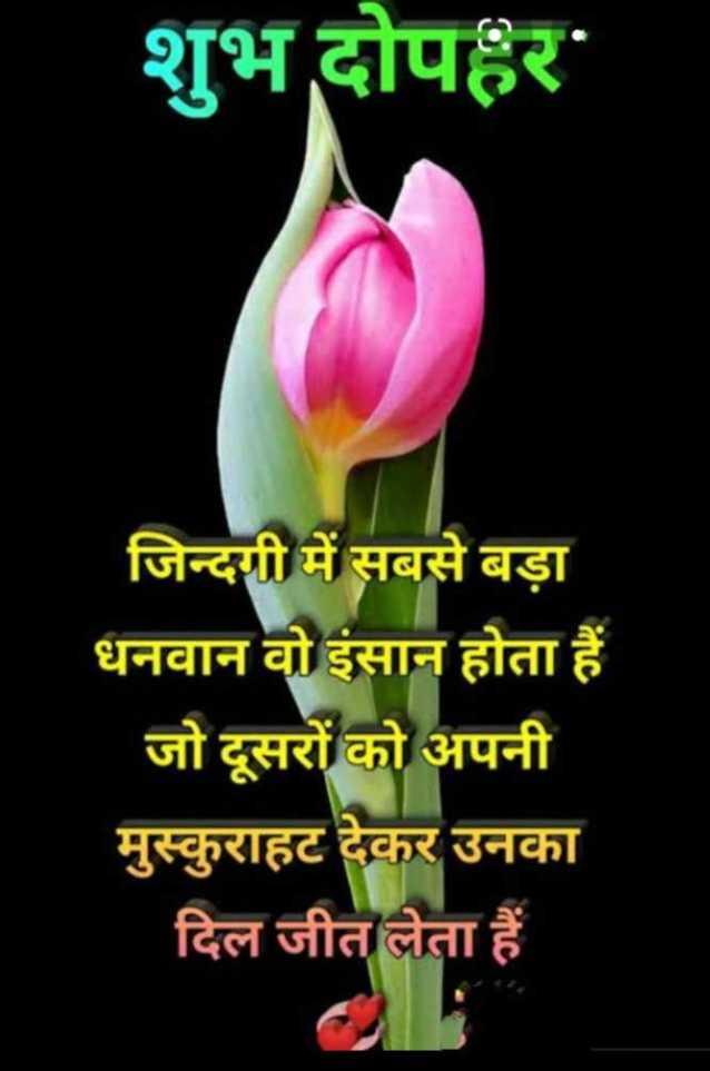 🕛 शुभ दोपहर☺ - शुभ दोपहर जिन्दगी में सबसे बड़ा धनवान वो इंसान होता हैं जो दूसरों को अपनी मुस्कुराहट देकर उनका दिल जीत लेता हैं - ShareChat