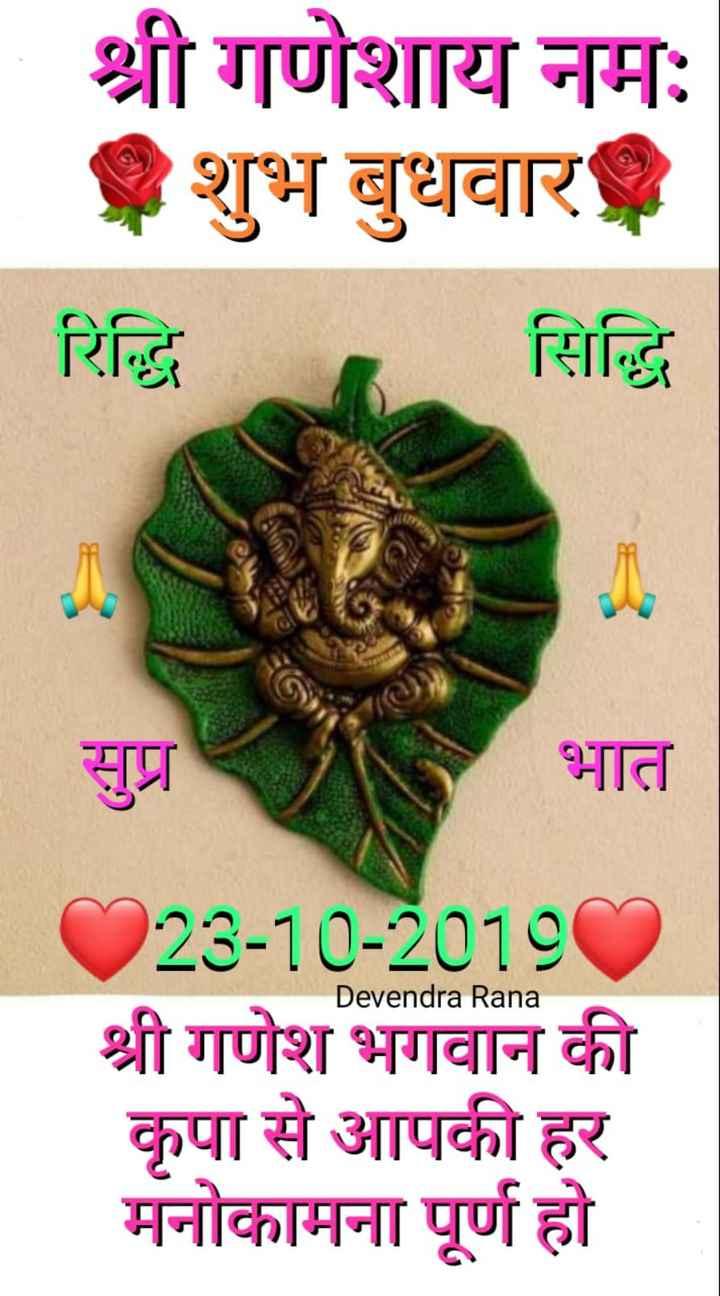 🌷शुभ बुधवार - श्री गणेशाय नमः शुभ बुधवार रिद्धि सिद्धि सुप्र भात Devendra Rana 223 - 10 - 20180 श्री गणेश भगवान की कृपा से आपकी हर मनोकामना पूर्ण हो - ShareChat
