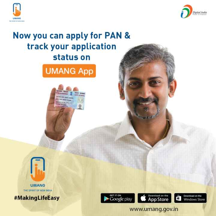 🌙शुभरात्रि - Digital India Power To Empower UMANG THE SPIRIT OF NEW INDIA Now you can apply for PAN & track your application status on UMANG App आयकर विभाग NOONG TAD ENT ही भारत सरकार GOVT . OF INDIA UMANG THE SPIRIT OF NEW INDIA GET IT ON Download on the # Making LifeEasy Download on the Windows Store Google play App Store www . umang . gov . in - ShareChat