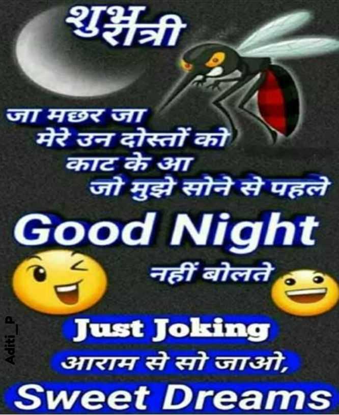 🌙 शुभरात्रि - शुशंत्री जा मछर जा मेरे उन दोस्तों को काट के आ जो मुझे सोने से पहले Good Night नहीं बोलते Aditi _ P Just Joking आराम से सो जाओ , Sweet Dreams - ShareChat