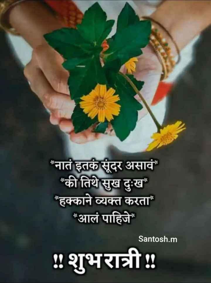 😴शुभ रात्री😴 - * नातं इतकं सुंदर असावं * की तिथे सुख दुःख * हक्काने व्यक्त करता * आलं पाहिजे Santosh . m ! ! शुभरात्री : - ShareChat