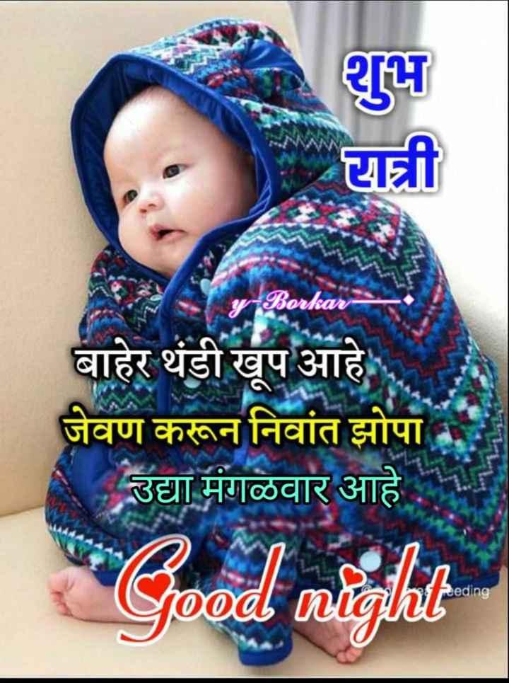 😴शुभ रात्री - रात्री - Borkar बाहेर थंडी खूप आहे . जेवण करून निवांत झोपा उद्या मंगळवार आहे Good night Reeding - ShareChat