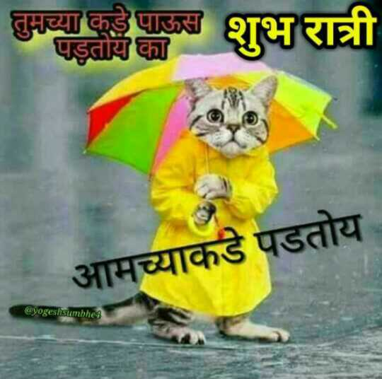 😴शुभ रात्री - तुमच्या कडे पाऊस पड़तायका आमच्याकडे पडतोय @ yogeshsumbhe - ShareChat