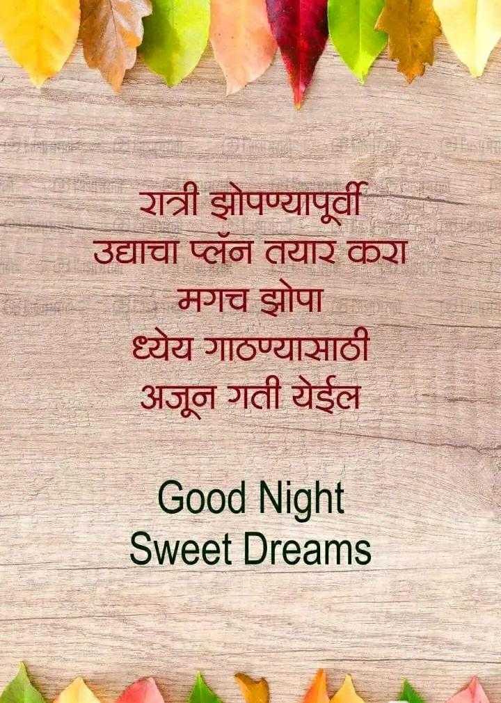 😴शुभ रात्री - रात्री झोपण्यापूर्वी उद्याचा प्लॅन तयार करा - मगच झोपा ध्येय गाठण्यासाठी अजून गती येईल Good Night Sweet Dreams - ShareChat