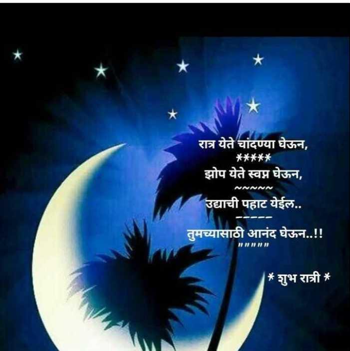 😴शुभ रात्री😴 - रात्र येते चांदण्या घेऊन , * * * * * झोप येते स्वप्न घेऊन , MNNNN उद्याची पहाट येईल . . तुमच्यासाठी आनंद घेऊन . . ! ! * शुभ रात्री * - ShareChat