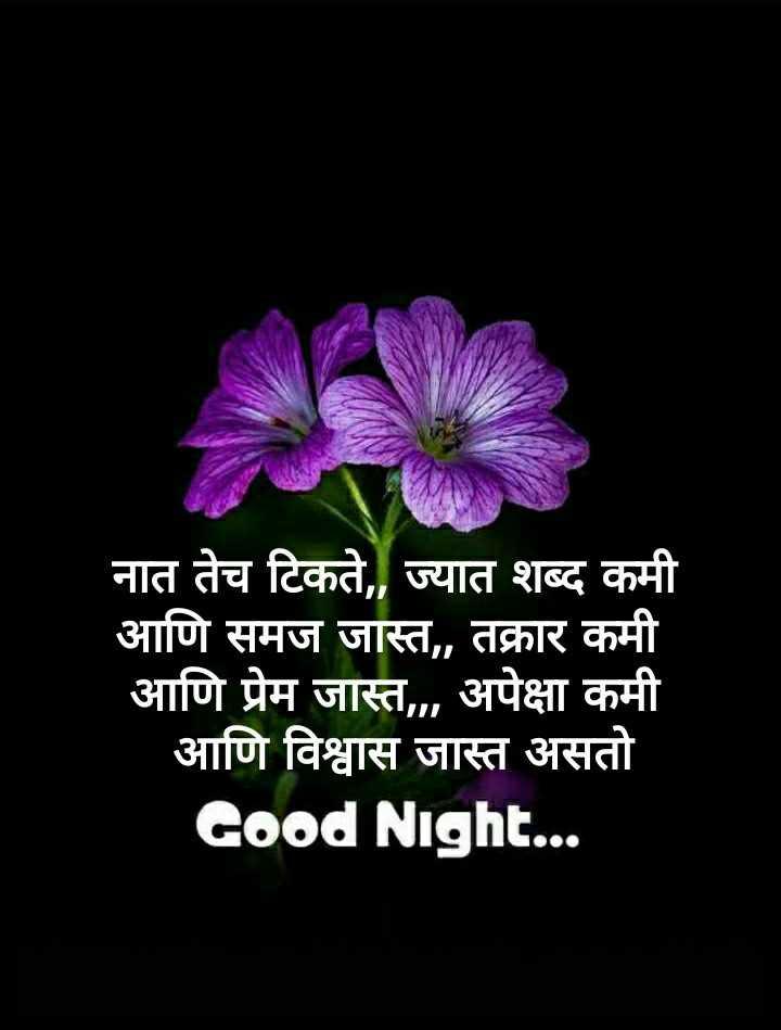 😴शुभ रात्री - नात तेच टिकते , , ज्यात शब्द कमी आणि समज जास्त , , तक्रार कमी आणि प्रेम जास्त , अपेक्षा कमी आणि विश्वास जास्त असतो Good Night . . . - ShareChat