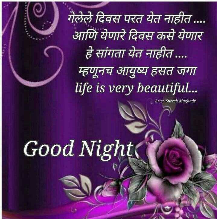 😴शुभ रात्री - गेलेले दिवस परत येत नाहीत . . . . आणि येणारे दिवस कसे येणार हे सांगता येत नाहीत . . . . म्हणूनच आयुष्य हसत जगा life is very beautiful . . . Arts : - Suresh Maghade Good Night - ShareChat