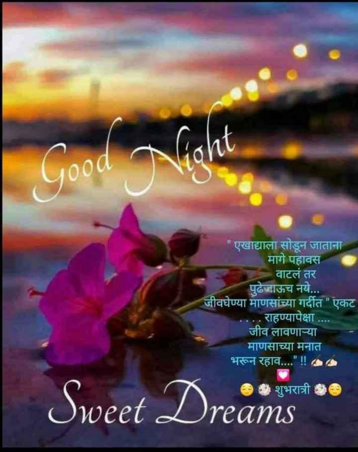 😴शुभ रात्री - एखाद्याला सोडून जाताना मागे पहावस वाटलं तर पुढेजाऊच नये . . . जीवघेण्या माणसांच्या गर्दीत एकट . . . राहण्यापेक्षा . . जीव लावणाऱ्या माणसाच्या मनात भरून रहाव . . . . ! ! SS Sweet Dreams * * - ShareChat